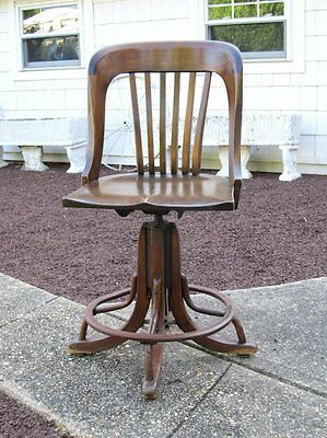 Vintage Antique Machine Age Steampunk Wood Office Drafting Chair Stool