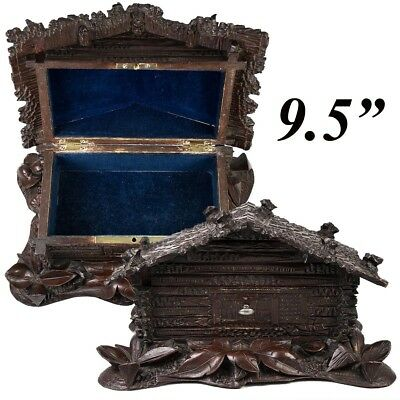 Charming Antique Swiss Black Forest Carved Chalet, Cabin Jewelry Box, Lock & Key