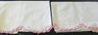 Vintage Pillowcases PAIR White Cotton with PINK & WHITE Crocheted Edging