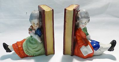"Book end ceramic made in japan man woman 4"" tall hand painted 1960 vintage"