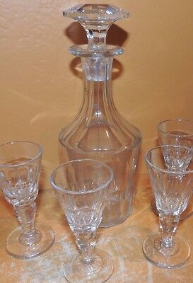 "Crystal Decanter 8"" & 4 Liqueur glasses nice ring Victorian era 19th cut glass"