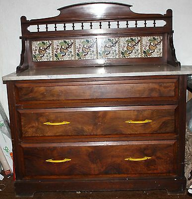 Marble Top Tile Backed Wash Stand On Chest Of Draws 1900-1920
