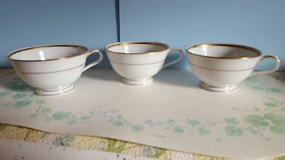 """Princess House Exclusive """"Princess Heritage"""" Footed Cups; Gold Trim; Set of 3"""
