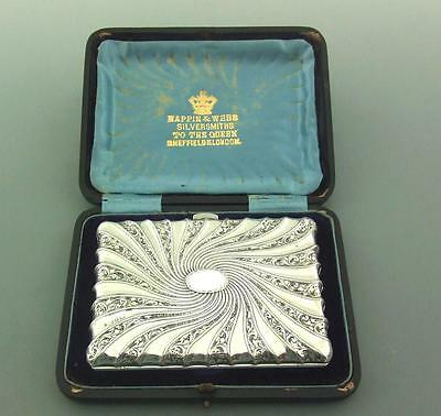 Cased Victorian Sterling Silver Card Case Aide Memoire Mappin & Webb
