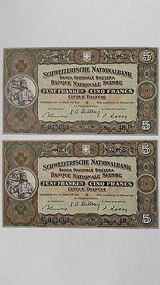 Switzerland - Lot of 2 (two) UNCIRCULATED 1951 - 5 Francs Banknotes