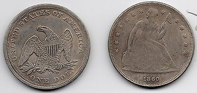 USA 1 Dollar SEATED LIBERTY 1846-1860 Coin...........SILVER PLATED RESTRIKE