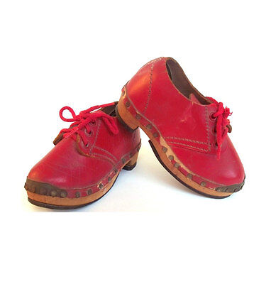 Vintage Red Leather Childrens Shoes Clogs 1930s Wood Sole Antique Footwear Doll