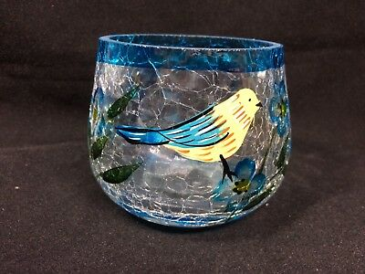 Handblown Hand Painted Vintage Crackle Glass Candle Holder. Excellent Condition.