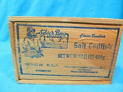 Silver Bay Brand Salt Codfish Wood Box Willard Daggett Fish Co Portland Maine