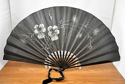 Vtg Black Fabric and Wood Asian Oriental Handpainted Floral Folding Hand Fan 25""
