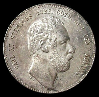1871 St Sweden Silver Riksdaler Specie Carl Xv Adolf Original Choice Mint State