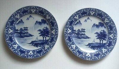 8 Chinese Canton Blue & White Porcelain 10 1/2 Inch Dinner Plates