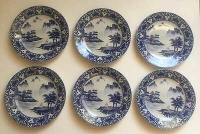Set of 6 Chinese Canton Blue & White Porcelain 7 1/2 Inch Salad Plates