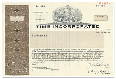 Time, Incorporated Specimen Stock Certificate (Time, Sports Illustrated, Life)
