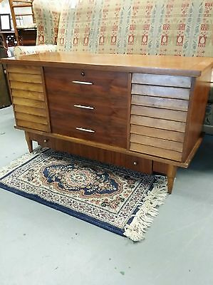 Mid Century Modern Floating Louvers Walnut Blanket Cedar Chest Drawer by LANE