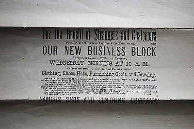 Historic Newspaper Grand Opening Of Famous Shoe & Clothing (Famous Barr) 1891