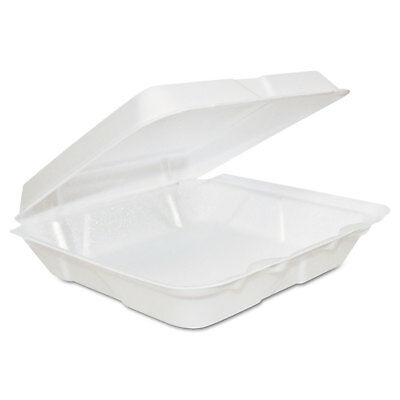 Dart Foam Hinged Lid Containers 8 x 8 x 2 1/4 White 200/Carton