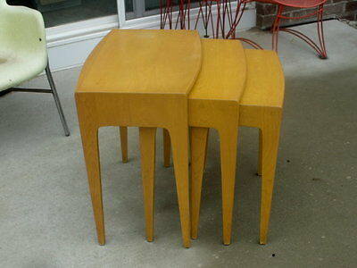 Old Mid Century Modern Heywood Wakefield Solid Maple Stacking Nesting Tables