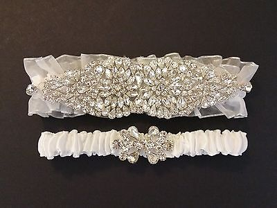 Wedding garter, Bridal Garter Set - ALMOSTE WHITE CRYSTAL Garter Set