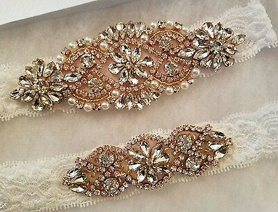 Wedding garter, Bridal Garter Set - ROSE GOLD CRYSTAL PEARL Wedding Garter Set