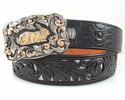 Rare COMSTOCK HERITAGE Sterling & 14K Gold Rabbit Buckle BOHLIN Leather Belt J