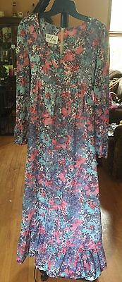 Vintage 70s Add 1 One Ltd Floral  Maxi Dress Empire Waist Med Hippy Boho Peasant