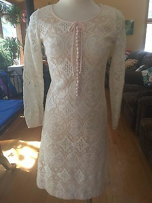 Vintage 60s Dress Ronnie Label Pink with Lace Overlay Small