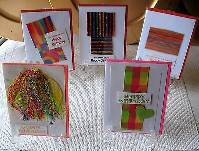 5 Birthday Art Cards Handmade OOAK~Linda Lee Taylor Designs FREE SHIPPING 003