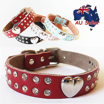 Genuine Real Leather Pet Dog Collar Heart Diamante Rhinstone Pink Red Black Blue