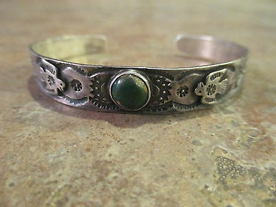 OLD NAVAJO Silver Cerrillos Turquoise Whirling Log Applied Thunderbird Bracelet