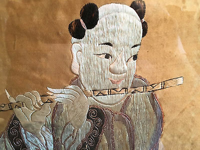 A  Rare Chinese Qing Dynasty Textile Panel, Framed.