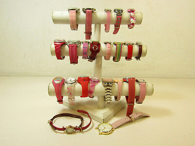 Mens Womans Jewelry Watch Lot AS IS Red Pink w/ Hello Kitty Fossil