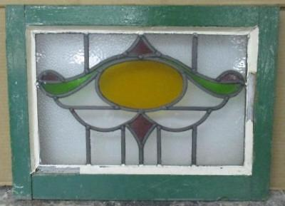 LARGE OLD ENGLISH LEADED STAINED GLASS WINDOW Superb Abstract Geometric 19 x 14""