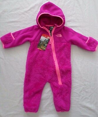 New The North Face Kids Infant Girls Chimborazo Fleece One Piece Bunting Pink