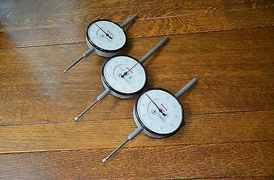 "3 Starrett 656-2041 .001"" Resolution 2.000"" Dial Indicators, Euc, Case Separate"