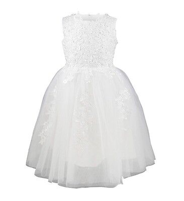 Princess Size 10 Girls Flower Lace Dress. White Party Wedding Gown. Easter