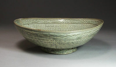 "An Extrem. Rare/Fine Korean Punchong Bowl Incised with Character ""天"" -15th C.:"