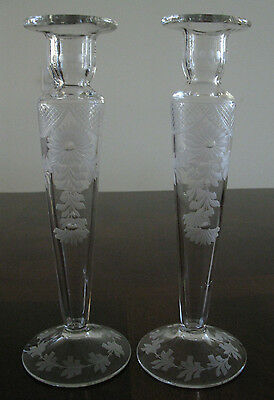 Antique Pair of Floral Gravic Cut Glass Candlesticks/Bud Vases