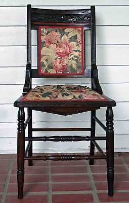 Antique Wooden Carved Beautiful Parlor Chair w/Floral Upholstery
