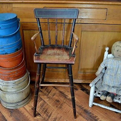 Antique 19th century PA Windsor High Chair in Early Original Paint