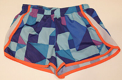 Youth Girls Champion Blue Running Athletic Shorts Built-in-Briefs - Size M (7-8)