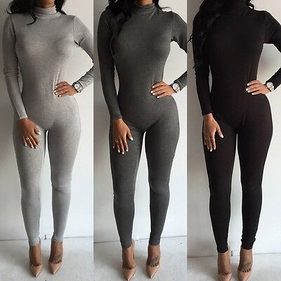 379be0ae5603 Sexy Women's Fashion Turtleneck Long Sleeve Jumpsuit Bodysuit Bodycon  Rompers