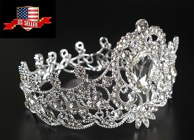 New 7cm High Heart Leaf Adult Girl Kids Crystal Wedding Party Pageant Prom Crown
