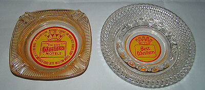 Two Old Best Western Motel Glass Ashtray