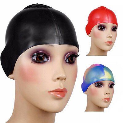 Multicolour Flexible Silicone swimming Cap Ear Protect Long Hair Protection Swim