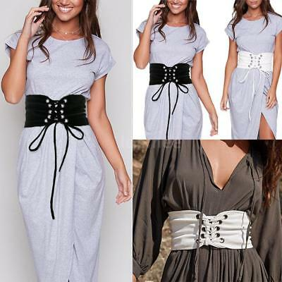 Women Self-tie High Waist Extra Wide Slimming Lace Up Corset Tie Belt Retro R8Q1