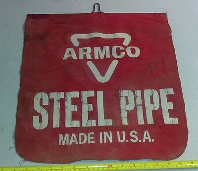 Vintage ARMCO Steel Pipe Double Sided Cloth Banner Advertising Sign Rare
