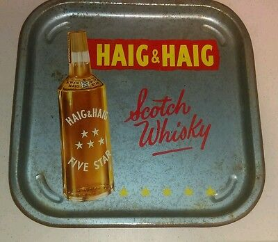 Vintage Haig & Haig Scotch Whisky Metal Advertising Tray Rare Version
