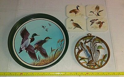 Vintage Ducks Lot Metal Tray Coasters Faux Wood Wall Hanging Other Birds Rare