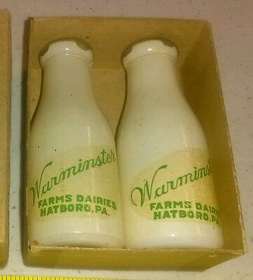 Vintage Warminster Farm Dairies Hatboro PA Advertising Milk Bottle Salt & Pepper
